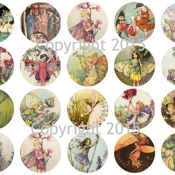 """Printed Vintage Victorian  Fairy 1 3/4"""" Circles Collage Sheet"""