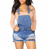 Women's Raw Hem Ripped Denim Short Overall