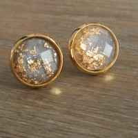 Faceted Grey Gold leaf silver tone stud earrings