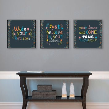 Triptych Modern Colorful Motivational Typography Life Quotes A4 Large Art Prints Poster Wall Pictures Canvas Painting Home Decor