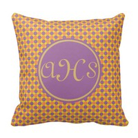 Yellow Purple Orange Polka Dots Monogram Pillow