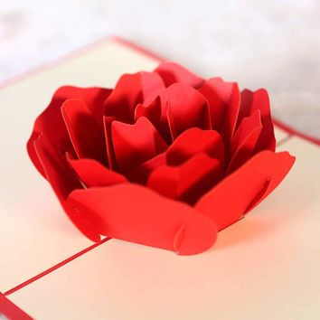 3D Pop Up Handmade Card Rose Valentine's Day Wedding Card For Lovers