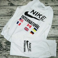"""""""NIKE"""" Print Round Neck Pullover Top Sweater Pants Sweatpants Set Two-Piece Sportswear G"""