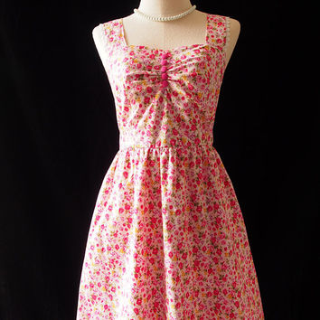 Shabby Chic Dress Floral Dress Pink Rose Floral Vintage Inspired Tea Party Dress Pink Floral Sundress La La Land Style Sweetheart Dress