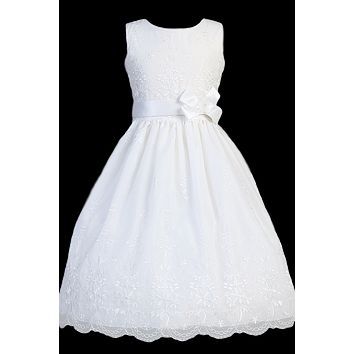 Floral Embroidered Organza Overlay Girls Communion Dress 6-12