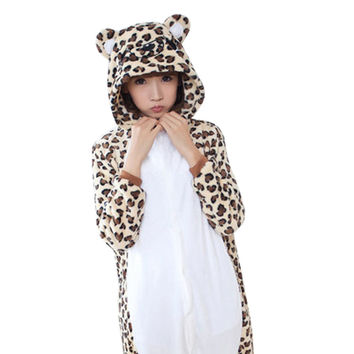 2016 Autumn and Winter Leopard Bear Unisex Adults Flannel Hooded Pajamas Cosplay Cartoon Animal Onesuits Sleepwear For Men Women