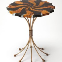 Pinwheel Transitional Round Accent Table Multi-Color