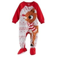 Baby Jammies For Your Families Rudolph The Red Nosed Reindeer Microfleece Footed Pajamas   null