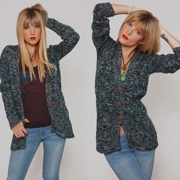 Vintage 70s Cardigan HUK A POO Sweater Jade Green Space Dye Button Down Jumper