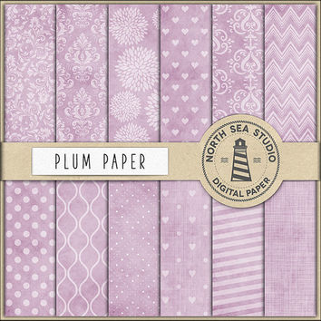Vintage Plum Digital Paper, Scrapbook Paper, Plum Patterns, Damask, Stripes, Floral, Textured Backgrounds, BUY5FOR8