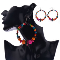 Colorful Wood Beads Retro Big Round Women Hoop Retro Ethnic Earrings