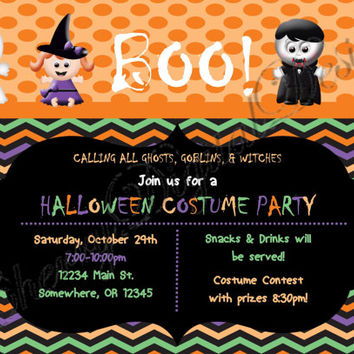 Halloween Party Printable Digital Invitation.  Costume Party Invitation.  Chevron Halloween Party Invitation. Kids Halloween Party Invite.