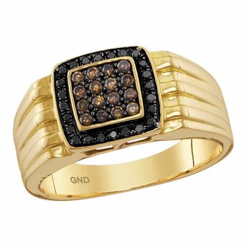 10kt Yellow Gold Mens Round Cognac-brown Black Color Enhanced Diamond Square Cluster Band Ring 3/8 Cttw