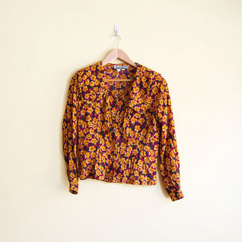 Vintage 80s Maroon & Orange Floral Blouse - Floral Button Up 80s Blouse Floral Button Down Shirt Floral Blouse Boho Floral Shirt Flowy Shirt