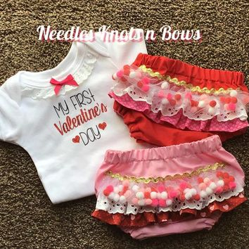 My 1st Valentines Day Outfit, Baby Girls First Valentines Day Bloomer Outfit