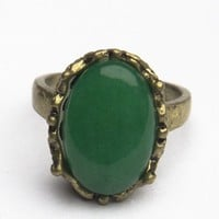 Brandy ♥ Melville |  Antique Green Stone Ring - Accessories