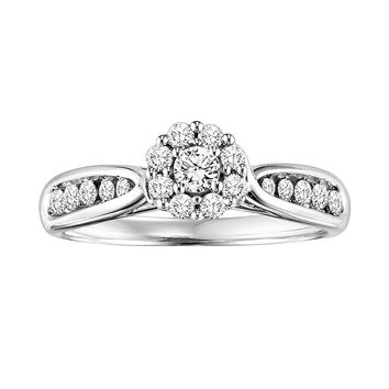 Cherish Always Round-Cut Diamond Flower Cluster Engagement Ring in 10k White Gold (1/2 ct. T.W.)
