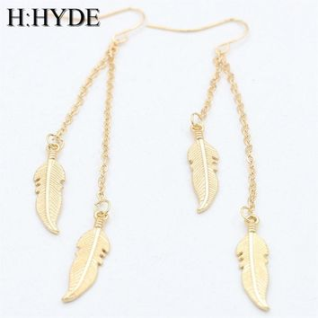 Long Tassel Feather Drop Earrings