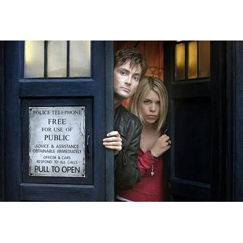 Dr. Who David Tennant Billie Piper Tardis poster Metal Sign Wall Art 8in x 12in