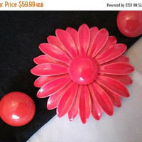 ON SALE True Bright Red Flower Brooch Earring Set, Demi Parure, Vintage Fashion Jewelry Figural Pin, 1950's 1960's Collectible