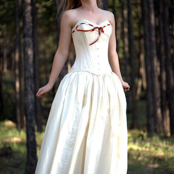 steampunk wedding dress- natural cotton
