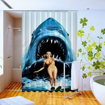 Jaws Shark water sky Funny poster Pattern Art Custom Design Shower Curtain 60x72