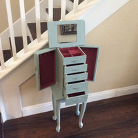 BEAUTIFUL JEWELRY ARMOIRE Beach Blue Jewelry Cabinet Cottage Chic Jewelry Holder Rustic Jewelry Box With Pink Velvet Lining Gift For Her