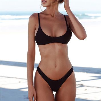 Fashion Strap Solid Color Beach Bikini Set Swimsuit Swimwear