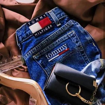 """Tommy Jeans"" Fashion Women Personality Summer High Waist Denim Shorts I-KWKWM"