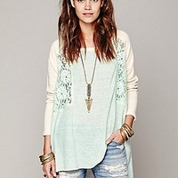 Free People  Colorblock Lace Inset Pullover at Free People Clothing Boutique