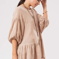 Linen Statement Sleeve Peplum