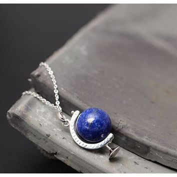 Sterling Silver  Lapis Lazuli Globe Necklaces
