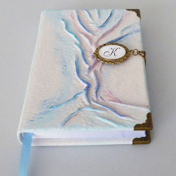 Personalized Leather Journal, Notebook, White Diary, Blue, Gift for Women, Girls, Travel Book, Graduation Gift, Tree of Life, Leather Art