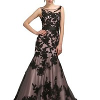 COCOMELODY Women's Trumpet Long Floor Length Black Lace Formal Gown
