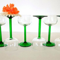 Luminarc emerald green stem wine glasses, SIX  vintage stemware made in France, JG Durand, retro barware bar ware