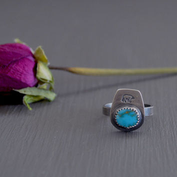 She-Bear Stacker / Natural Candelaria Turquoise & Sterling Silver Ring / Stacking Ring / Boho Jewelry / Bohemian Style / US Size 5 1/2