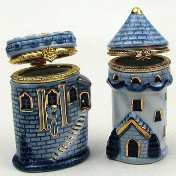 Blue Porcelain Castle Trinket Boxes 2 Asst.