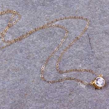 Single diamond necklace / Wedding necklace / Cubic Zirconia necklace / Bridesmaid necklace / Gold filled necklace / Bridal necklace | Tethys