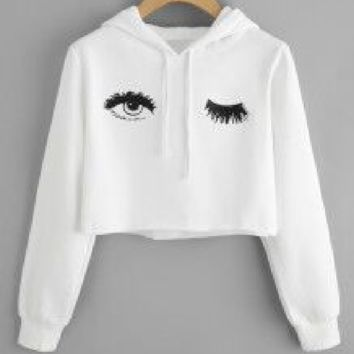 Eye print long sleeve sexy exposed umbilical sweater
