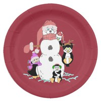 Snowman and Penguin Paper Plates 9 Inch Paper Plate