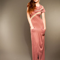 Bionic Rapture Organic Pink Cotton Maxi Dress with Hood and Gold Accents