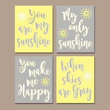 YELLOW Gray Nursery, You Are My SUNSHINE Wall Art, Canvas or Prints, Baby Girl NURSERY Decor, Rhyme Quote, Girl Bedroom Decor, Set of 4