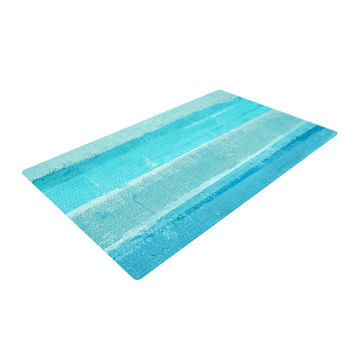 "CarolLynn Tice ""Sand Bar"" Teal Blue Woven Area Rug"