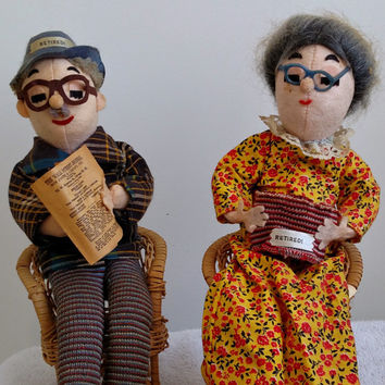1962 Stuart Inc Retired Couple Granny Gramma Grandma Grammy Nana Grampa Papa  Collectible Felt Dolls