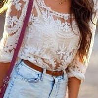 Bridgette Embroidered Lace Top - Natural