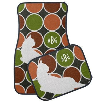 Cute playful cat in Art Deco style girly car floor mats for cat lovers - Personalize this product with your monogram!