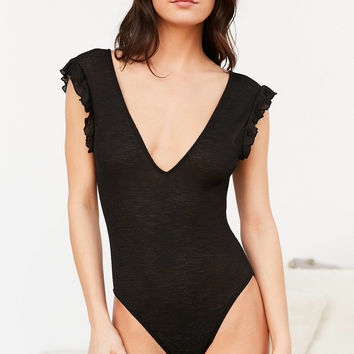 Out From Under Deep V-Neck Ruffle Bodysuit | Urban Outfitters