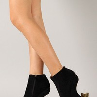 Liliana Krissy-19 Star Heel Less Curved Wedge Bootie