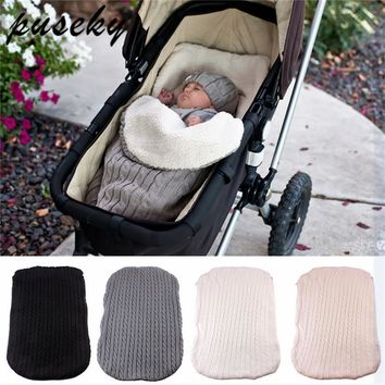 Thick Baby Swaddle Wrap Knit Envelope Newborn Sleeping Bag Baby Warm Swaddling Blanket Infant Stroller Sleep Sack Footmuff