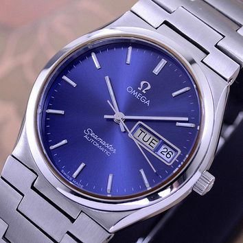 VINTAGE OMEGA SEAMASTER AUTOMATIC DAY&DATE CAL 1020 BLUE DIAL DRESS MEN'S WATCH